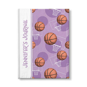 "Basketball Themed Purple Pattern Personalized 5"" x 7"" Journal at Artistically Invited"