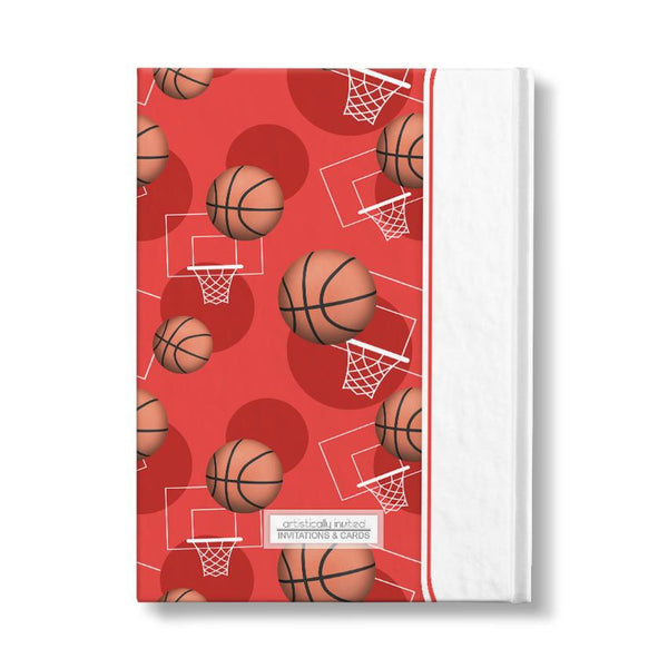 "Basketball Themed Red Pattern Personalized 5"" x 7"" Journal"