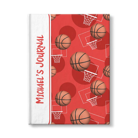 "Basketball Themed Red Pattern Personalized 5"" x 7"" Journal at Artistically Invited"