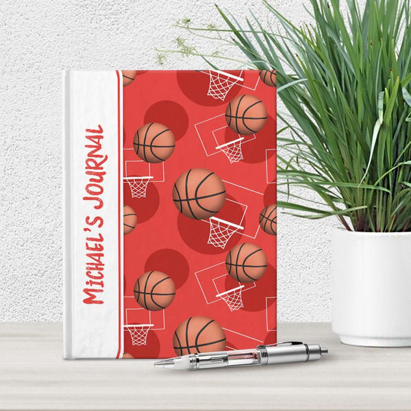 Basketball Themed Red Pattern Personalized 5 x 7 Journal at Artistically Invited