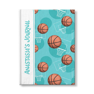 Basketball Themed Teal Pattern Personalized 5 x 7 Journal at Artistically Invited