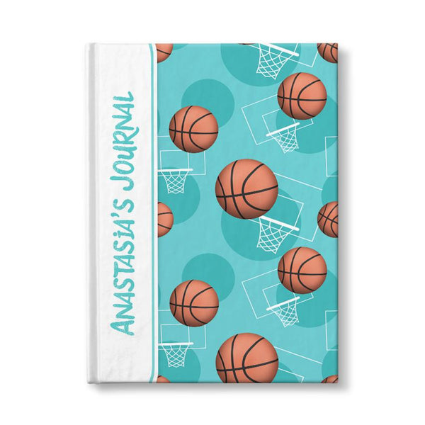 "Basketball Themed Teal Pattern Personalized 5"" x 7"" Journal at Artistically Invited"