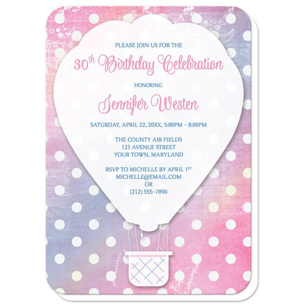 Pink Polka Dot Hot Air Balloon Birthday Invitations - rounded corners