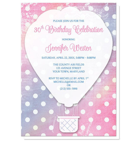 Pink Polka Dot Hot Air Balloon Birthday Invitations