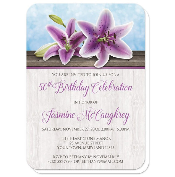 Pretty Floral Wood Purple Lily Birthday Invitations - rounded corners