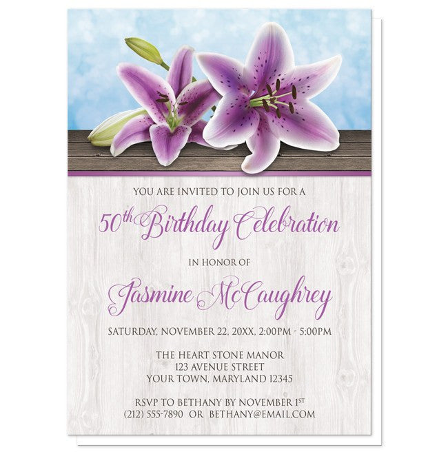 Pretty Floral Wood Purple Lily Birthday Invitations