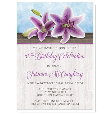 Purple Lily Birthday Invitations - Pretty Floral Wood Purple Lily Birthday Invitations at Artistically Invited