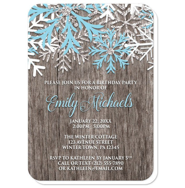 Birthday Invitations - Rustic Winter Wood Blue Snowflake - rounded corners