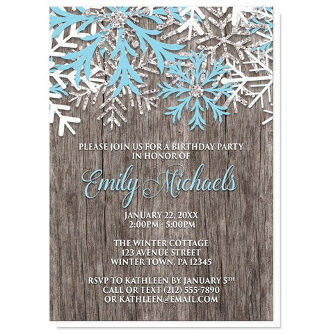 Birthday Invitations - Rustic Winter Wood Blue Snowflake