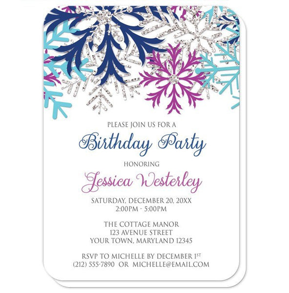 Birthday Party Invitations - Turquoise Navy Orchid Silver Snowflake - rounded corners