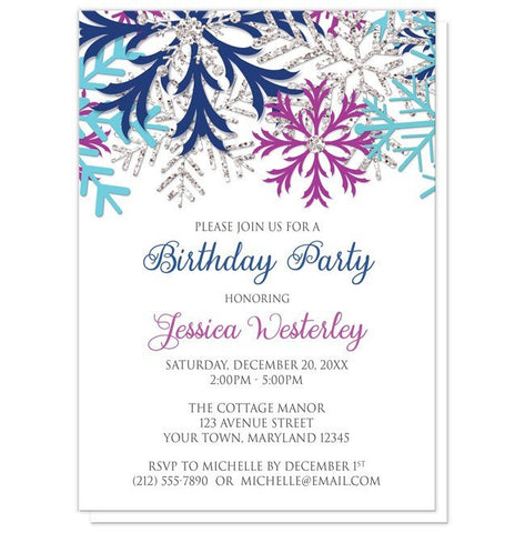 Birthday Party Invitations - Turquoise Navy Orchid Silver Snowflake