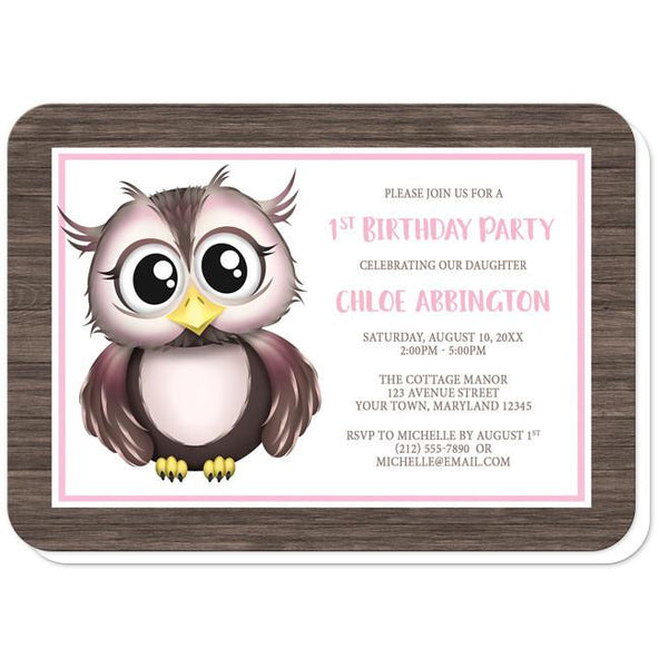 Owl Birthday Party Invitations - Adorable Owl Pink and Brown Birthday Party Invitations (rounded corners) at Artistically Invited