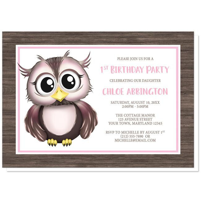 Adorable Owl Pink and Brown Birthday Party Invitations at  Artistically Invited