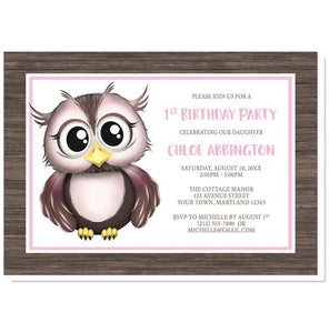 Owl Birthday Party Invitations - Adorable Owl Pink and Brown Birthday Party Invitations at Artistically Invited