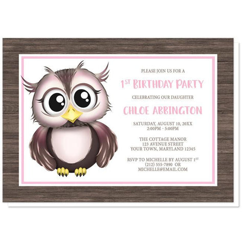 Adorable Owl Pink and Brown Birthday Party Invitations