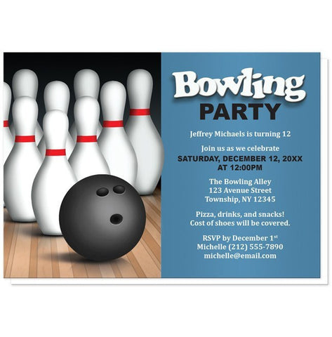 Birthday Party Invitations - Bowling Ball and Pins - Blue
