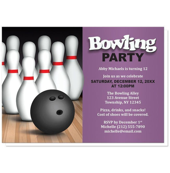 Birthday Party Invitations - Bowling Ball and Pins - Purple