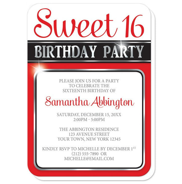 Classy Red and Silver Sweet 16 Birthday Party Invitations - rounded corners