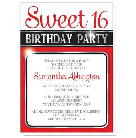 Classy Red and Silver Sweet 16 Birthday Party Invitations