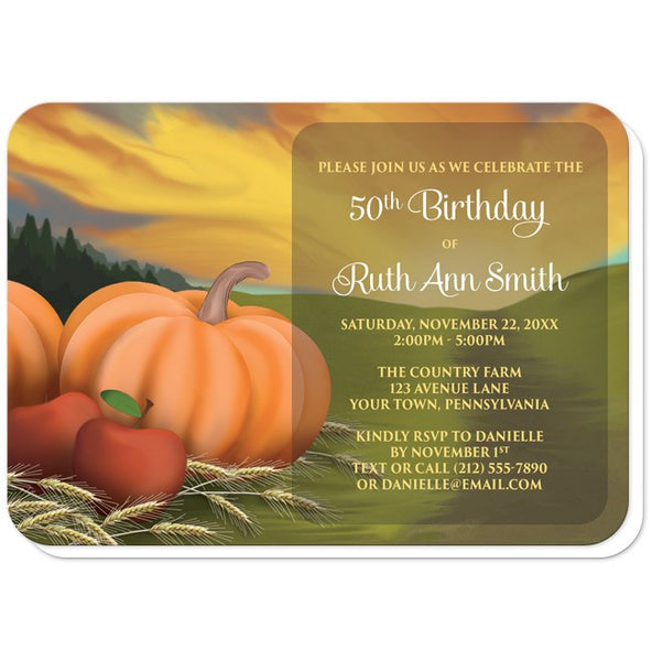 Country Autumn Harvest Birthday Party Invitations - rounded corners