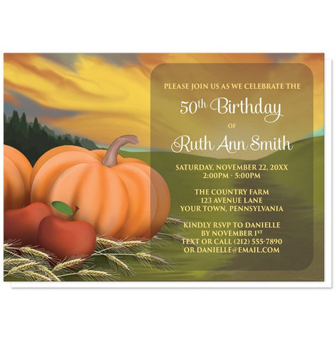 Country Autumn Harvest Birthday Party Invitations