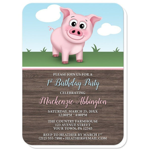 Birthday Party Invitations - Happy Pink Pig on the Farm - rounded corners