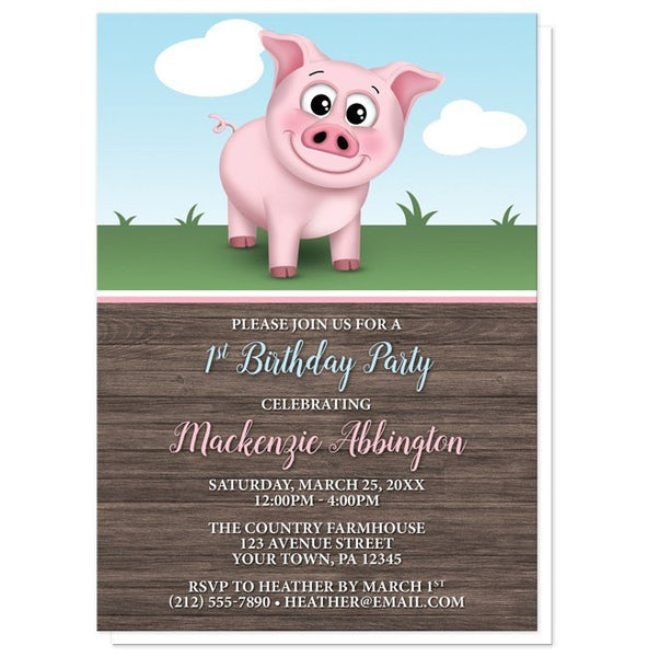 Birthday Party Invitations - Happy Pink Pig on the Farm