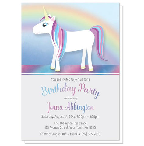 Happy Unicorn Rainbow Birthday Party Invitations
