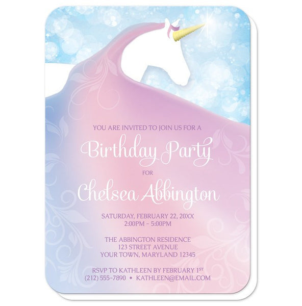 Magical Fairy-tale Unicorn Birthday Party Invitations - rounded corners