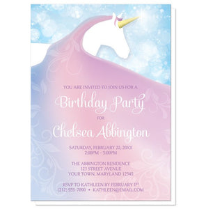 Magical Fairy-tale Unicorn Birthday Party Invitations