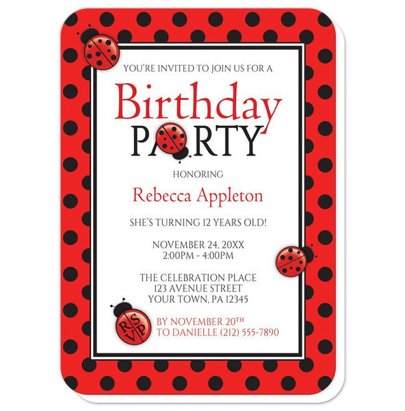 Polka Dot Red and Black Ladybug Birthday Party Invitations - rounded corners