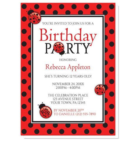 Polka Dot Red and Black Ladybug Birthday Party Invitations