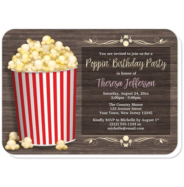 Birthday Party Invitations - Popcorn Bucket Rustic Wood - rounded corners