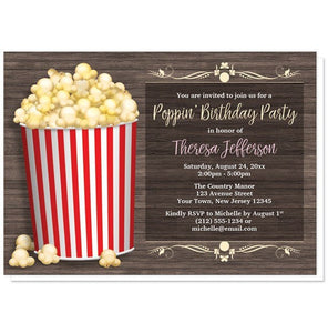 Birthday Party Invitations - Popcorn Bucket Rustic Wood