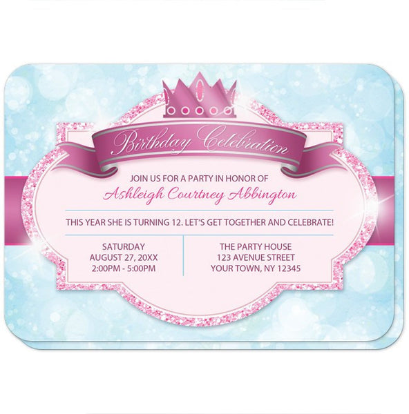 Royal Princess Pink and Blue Girls Birthday Party Invitations - FRONT - rounded corners