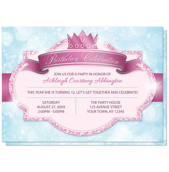 Royal Princess Pink and Blue Girls Birthday Party Invitations - FRONT