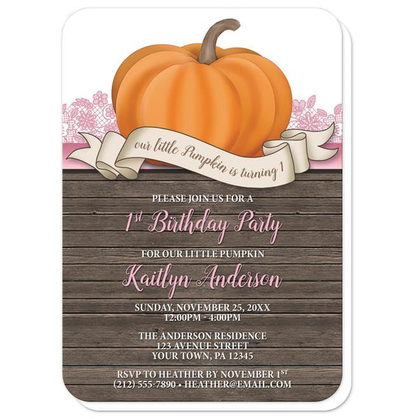Pumpkin Orange Pink Rustic Wood 1st Birthday Invitations - rounded corners