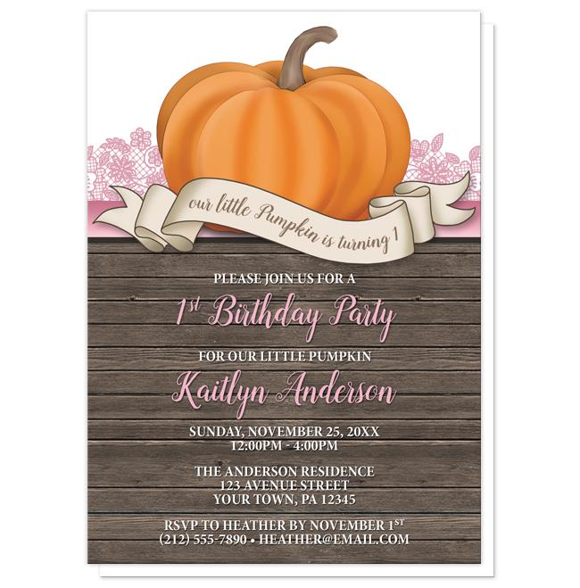 Pumpkin Orange Pink Rustic Wood 1st Birthday Invitations at  Artistically Invited
