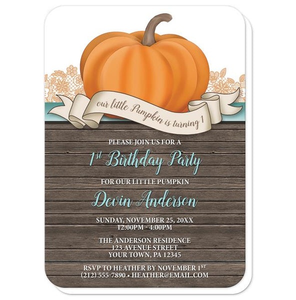 Pumpkin Orange Teal Rustic Wood 1st Birthday Invitations - rounded corners