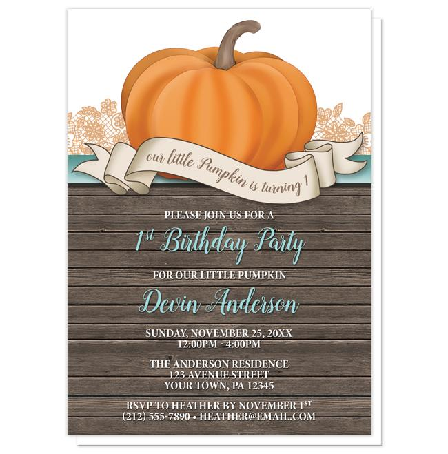 Pumpkin Orange Teal Rustic Wood 1st Birthday Invitations