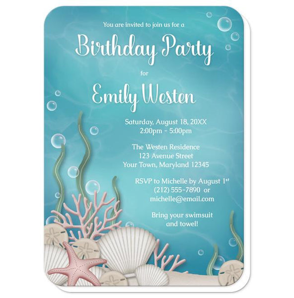 Whimsical Under the Sea Birthday Party Invitations - rounded corners