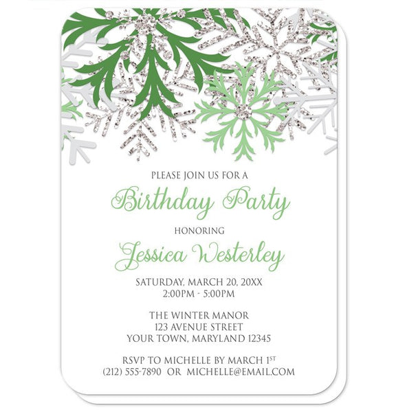 Birthday Party Invitations - Winter Green Silver Snowflake - rounded corners