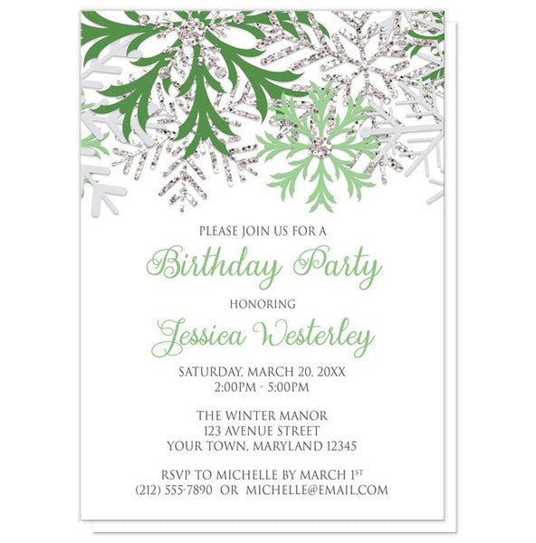Birthday Party Invitations - Winter Green Silver Snowflake