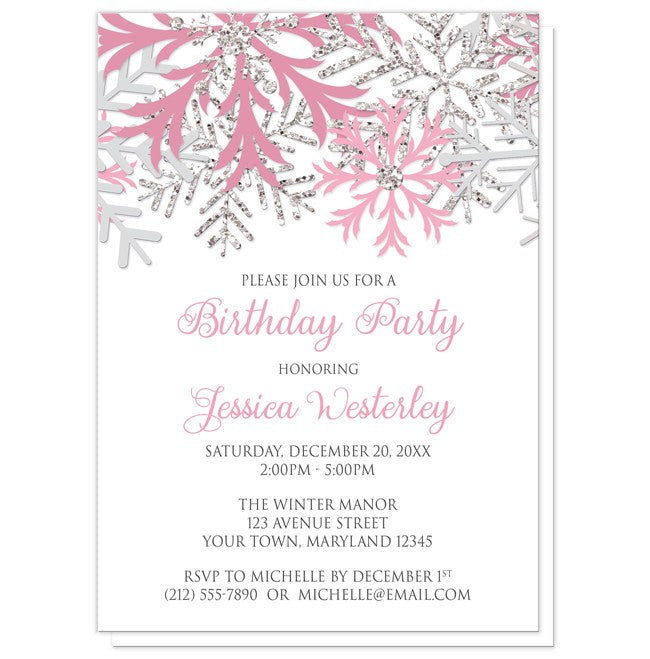 Winter pink silver snowflake birthday party invitations online at birthday party invitations winter pink silver snowflake filmwisefo