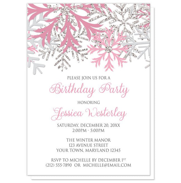 Birthday Party Invitations - Winter Pink Silver Snowflake