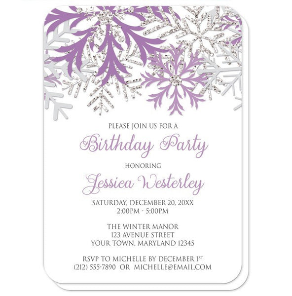 Birthday Party Invitations - Winter Purple Silver Snowflake - rounded corners