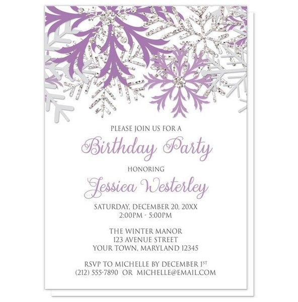 Birthday Party Invitations - Winter Purple Silver Snowflake