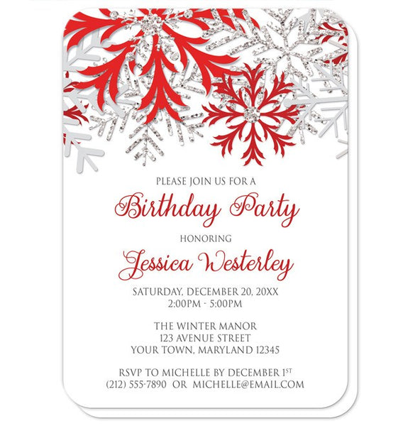 Birthday Party Invitations - Winter Red Silver Snowflake - rounded corners