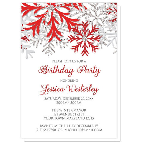 Birthday Party Invitations - Winter Red Silver Snowflake