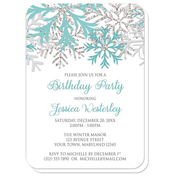 Birthday Party Invitations - Winter Teal Silver Snowflake - rounded corners